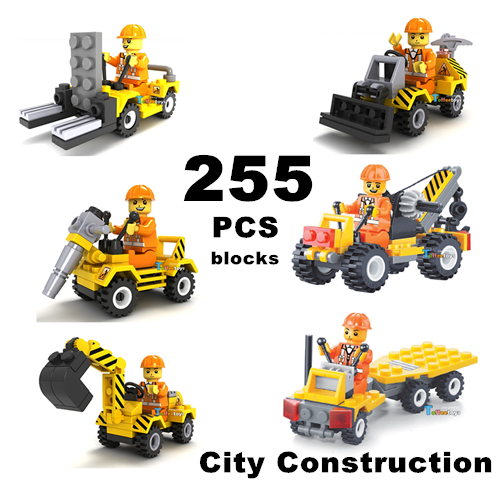6car/set 255PCS/TECHNIC City Construction DIY Model Vehicle TOYS Building Blocks Assembly Brick Compatible With Lego Boys Gifts(China (Mainland))