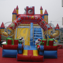Inflatable Double Slip Slide Inflatable trampoline bouncy castle combo(China (Mainland))