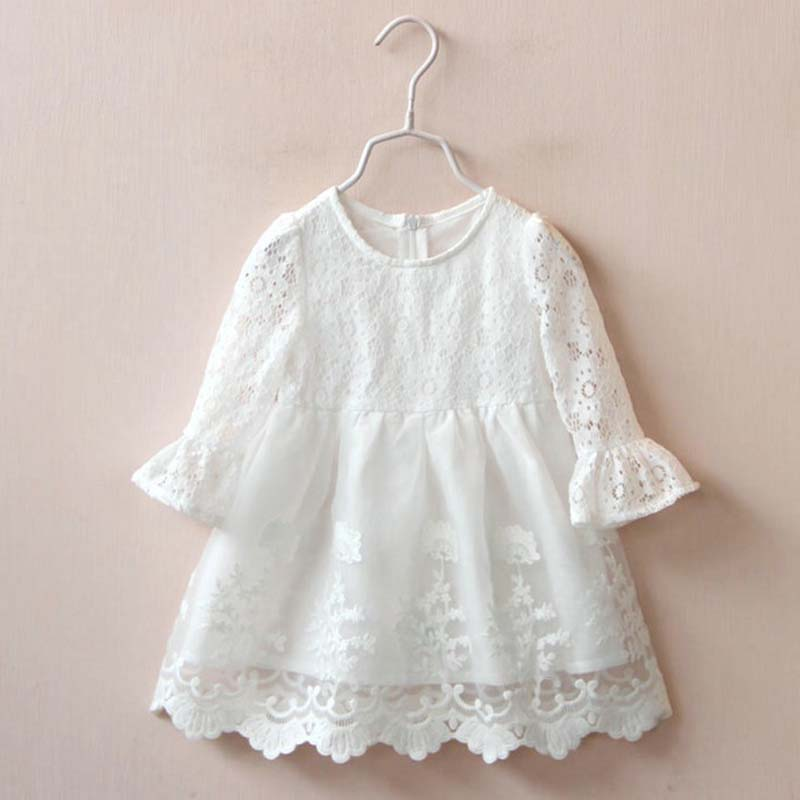 white flower girl dresses for weddings 2016 spring autumn white girls derss for wedding party toddler girl lace dress clothes(China (Mainland))