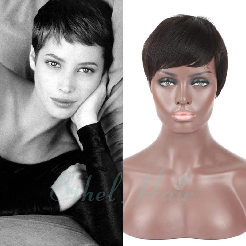 Free Shipping Full Lace Rihanna Chic Cut Short Wigs Hairstyle Brazilian Virgin Human Hair Capless Human Hair Wigs