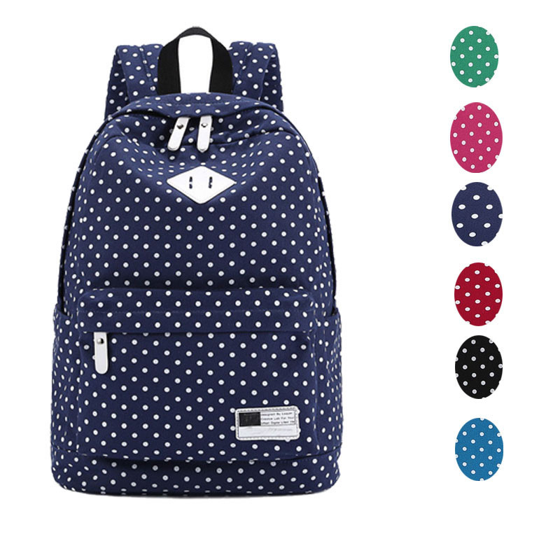 Гаджет  2015 New Arrival Backpack 6 Colors Casual Stylish Canvas Backpack Polka Dot School Shoulder Bag Travel Rucksacks Wholesale Price None Камера и Сумки