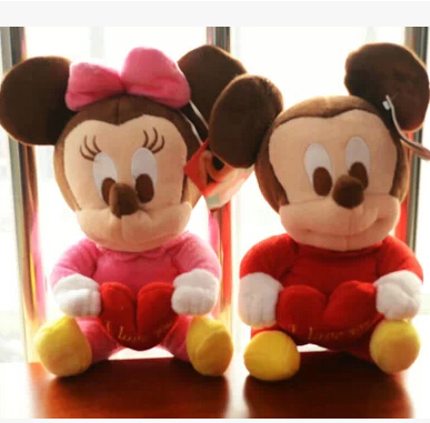 Fashion free shipping 25cm toy stuffed animal doll cute plush toys hot selling mouse kids toys birthday gifts(China (Mainland))