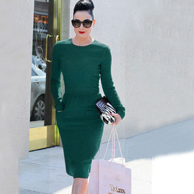 Women Dresses Elegant O-neck Full Sleeve Wear Work Party Cocktail Pencil Bodycon Size S M L XL XXL - Dongguan Amika fashion clothes store