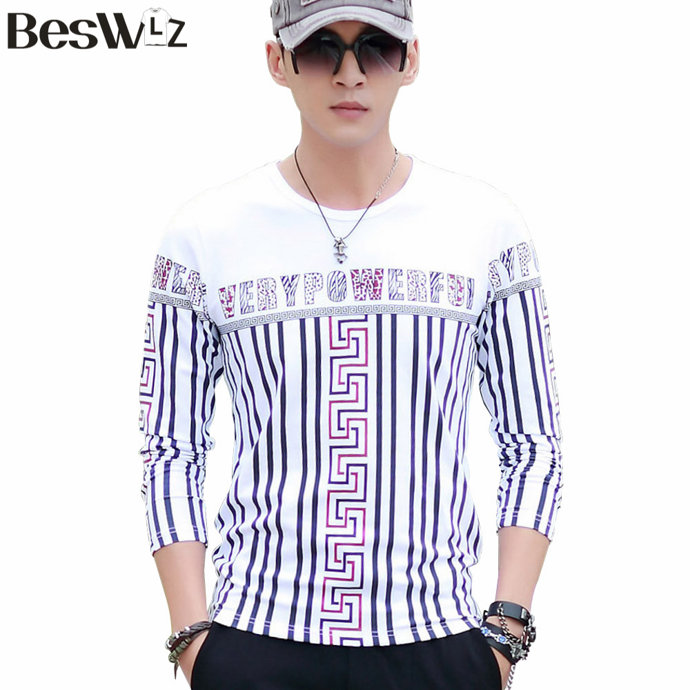Mens T Shirts Fashion 2015 Autumn Winter Striped Cotton Top Tees Long Sleeve O-Neck Warm Slim Fit For Male 5821Одежда и ак�е��уары<br><br><br>Aliexpress