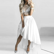 2016 Modern High Low Ivory Satin Skirts A Line Invisible Zipper Waist Long Women Skirts Formal Party Skirts