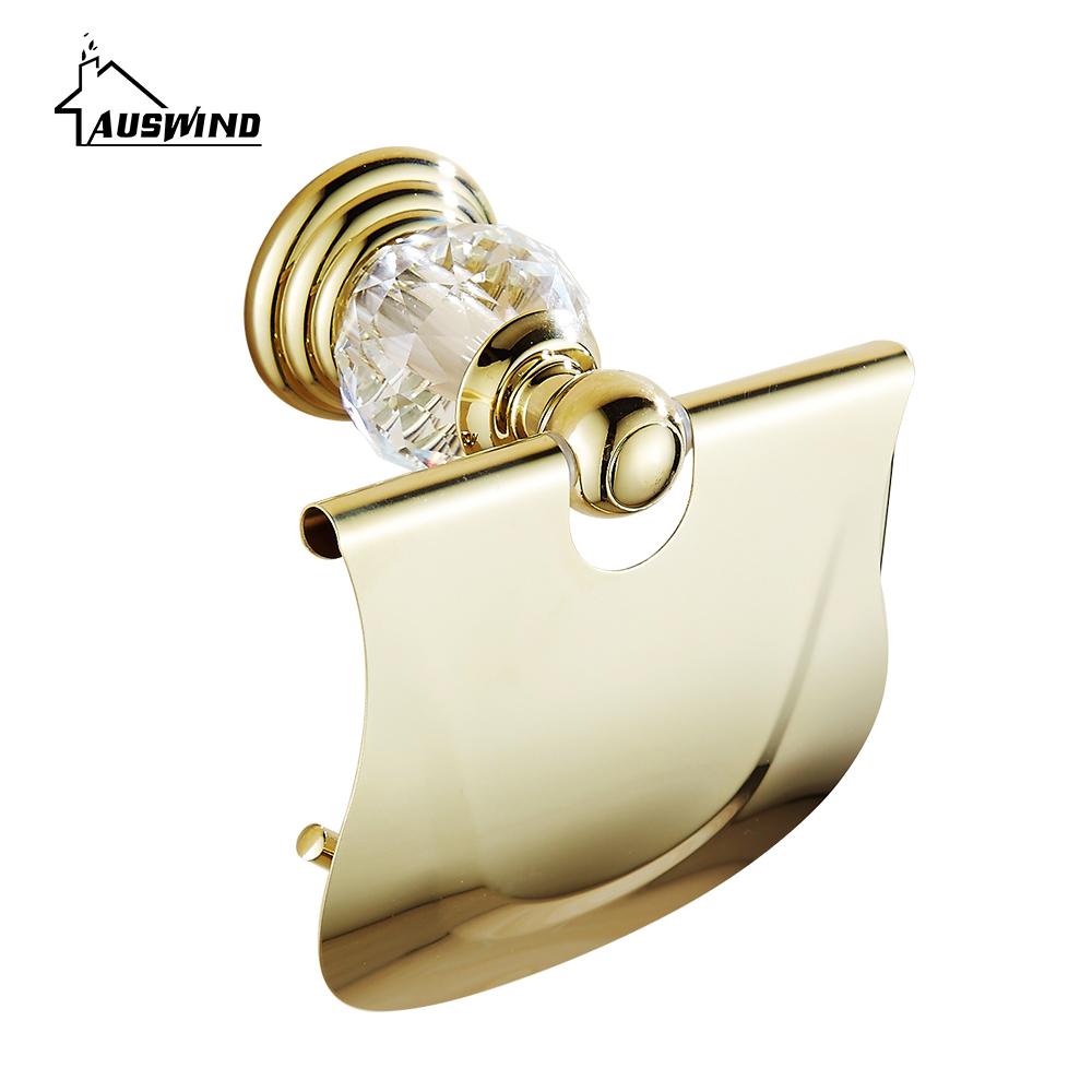 Luxury Crystal Brass Roll Holder Zirconium Gold Paper