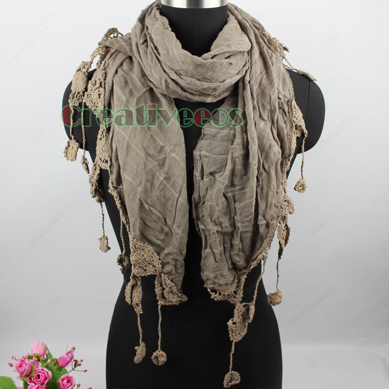 Vintage Elegent Stylish Unique Crochet Lace Tassel Plaid Long Scarf Wrap Stole Shawl New(China (Mainland))