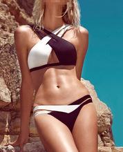2014 European And American Hot Bikini Straps Double Color Split Women  Slim Swimsuit