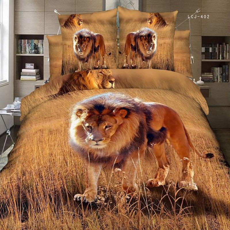 3d animal lion print manly double bedding set pure cotton for Housse de couette animaux