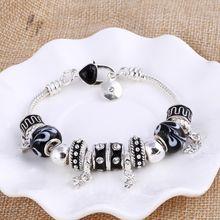 Kualitas Tinggi Hati Hiasan Manik-manik Fit Asli Perak Gelang Kristal Manik-manik Gelang & Gelang untuk Wanita Fashion Perhiasan(China)