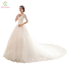 Vestido De Noiva Luxury Wedding Dresses 2016 Bride Princess Royal Train Lace 3/4 Sleeved Elegant Wedding Gown vestido de novia(China (Mainland))