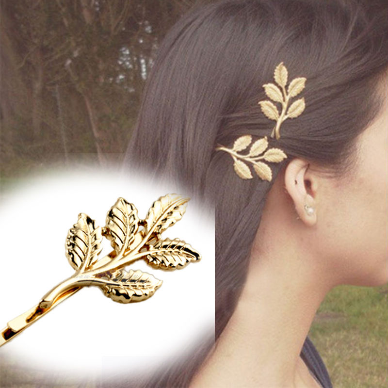 2 Pcs Fashion Lovely Leaves Golden Metal Punk Hairpin Hair Clip Bands Hairbands Headbands Head Bands Accessories High Quality(China (Mainland))