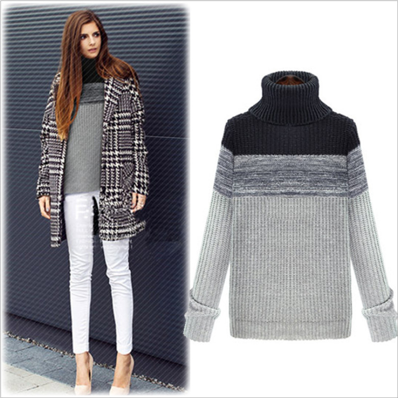 Winter New Plus Size Women Fashion Sweater Slim Solid Warm Turtleneck Pullovers Patchwork Casual Ladies Jumpers(China (Mainland))