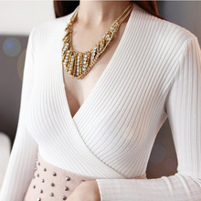 Free shipping 2016 Autumn spring Women Sweaters Tops Fashion Casual Sexy Pullovers Knitted Christmas Bottoming shirt Plus size(China (Mainland))