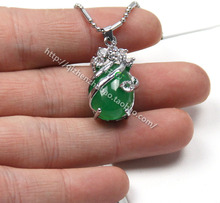 2014 Fashion 925 Sterling Silver Green Jade Pendant Jewelry Necklace & Pendant Zircon Necklace Accessories Women Jewlery PD060(China (Mainland))