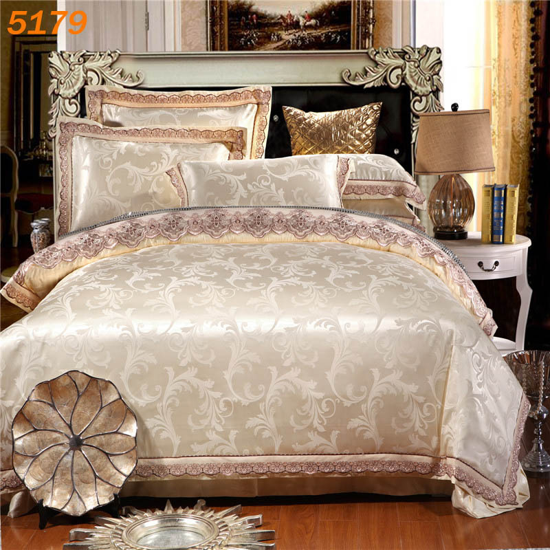 Dark golden silk bedding sets tencel silk/cotton A/B side bed set satin silk bed covers tribute silk cotton sheet jacquard 5179(China (Mainland))