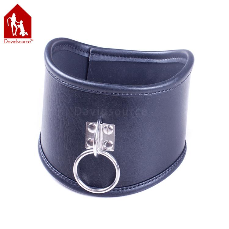 David 520*100mm Soild Black Leather Choker Collar With Pull Ring Lockable Adjustable Belt Slave Kinky Bondage BDSM Sex Product<br><br>Aliexpress