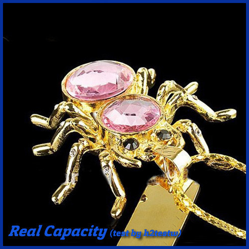 free shipping funny usb stick 4gb 8gb 16gb 32gb pen drive pendrive spider usb flash drive women necklace usb diamond pink(China (Mainland))
