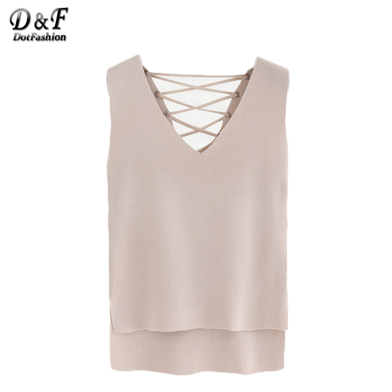 Dotfashion Summer Style Woman Tank Top Solid Apricot Eyelet Lace-Up Knitted High-Low V Neck Sleeveless Sexy Tank(China (Mainland))