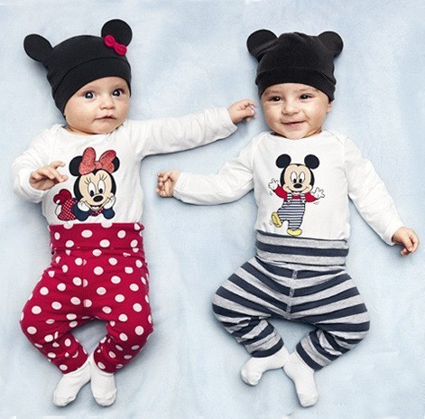 New cotton children cartoon mouse baby boys girls 3pcs clothing set Long sleeved baby Rompers hat