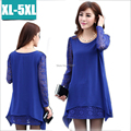 2015Women Ladie plus size Casual Lace chiffon patchwork Dress long Sleeve casual vestidos spring summer Free
