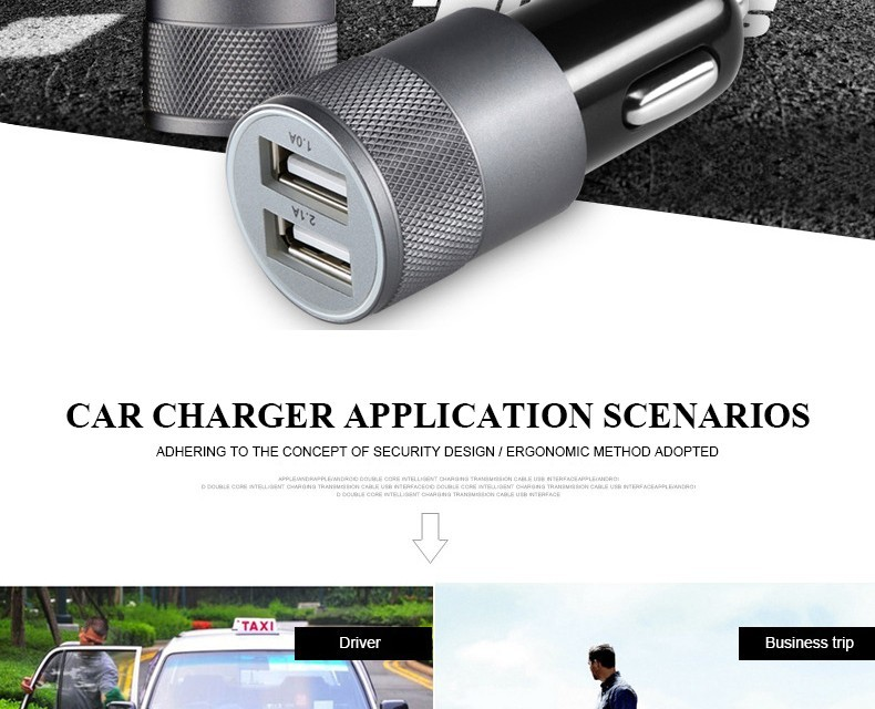 Quick Fast Charge Matel 2 Port USB Car Charger for iPhone Samsung Xiaomi Mobile Dual USB Phone Car-Charger Adapter
