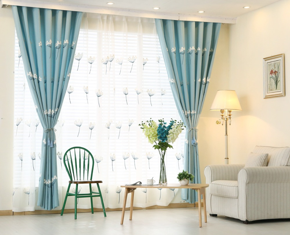 Aliexpresscom buy sky blue embroidered curtains window for Sky blue curtains for bedroom