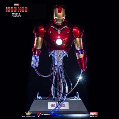 Marvel Iron man Bust battle damage repair Collector charging model of the statue Creative furnishing articles with light(China (Mainland))