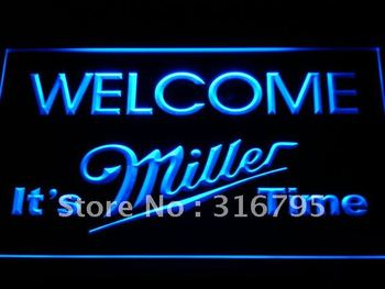 a206-b It's Miller Time Welcome Bar LED Neon Light Sign