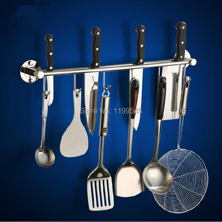 Free shipping 304 stainless steel wall shelf hooks multifunctional tool holders kitchen knives holder rack--storage holder(China (Mainland))