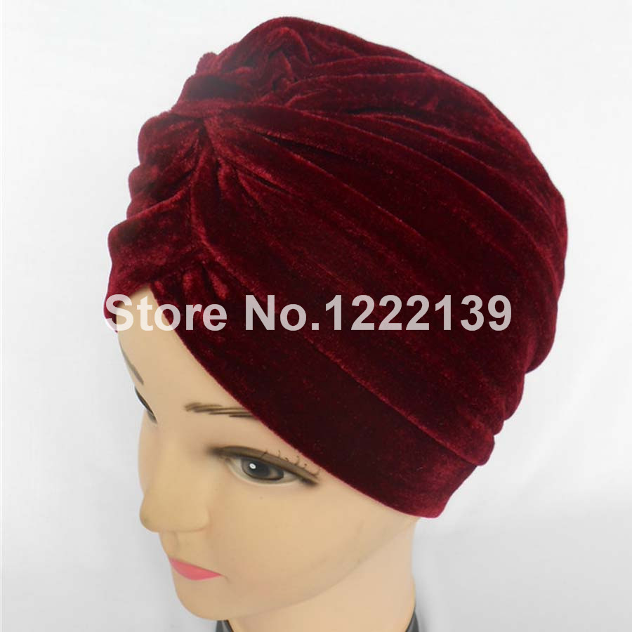 5pcs/lot Unisex New Head Wrap Indian Style Turban Hat Soft Polyester Velvet(China (Mainland))