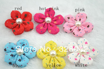 Trail order baby girl lovely DIY handmade fabric flowers pearl centre Hair flowers WITHOUT clip hair accesories 24pcs/lot