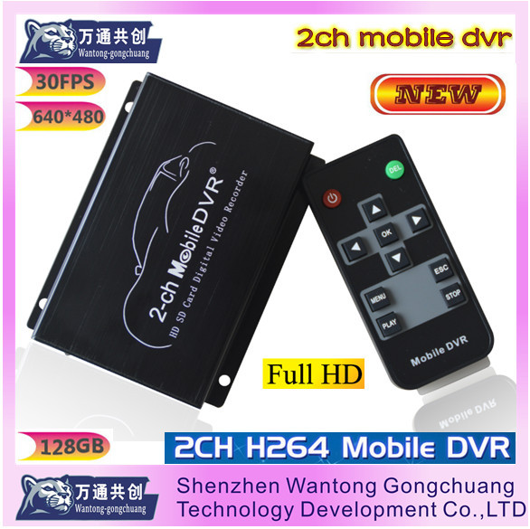 The new 2-ch SD card car recorders dvr Supports two-way video and audio synchronization input connected DVR(China (Mainland))
