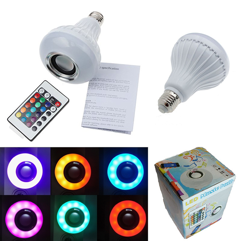 Cheapest New Wireless 6W Power E27 LED rgb Bluetooth Speaker Bulb Light Lamp Music Playing & RGB Lighting with Remote Control(China (Mainland))