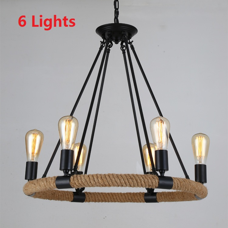 Nordic Antique Hemp Rope Retro Pendant Lights Vintage American Country Loft Industial Dining Room Lamps Fixtures Home 110V-240V<br><br>Aliexpress