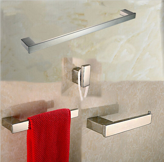 Stainless steel 304 bathroom accessories set 4 pcs/set Single Towel Bar Towel Ring and Tissue Holder Polished Finished robe hook