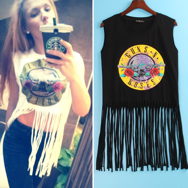 2 Colors Sexy Hot T Shirt Women GUNS N ROSES Print Crop Top T-shirt Women Cropped Tops Tassel Hollow Out Sleeveless Tee Shirt(China (Mainland))