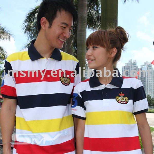 Horizontal stripe polo style short sleeve couple t shirt &shirts