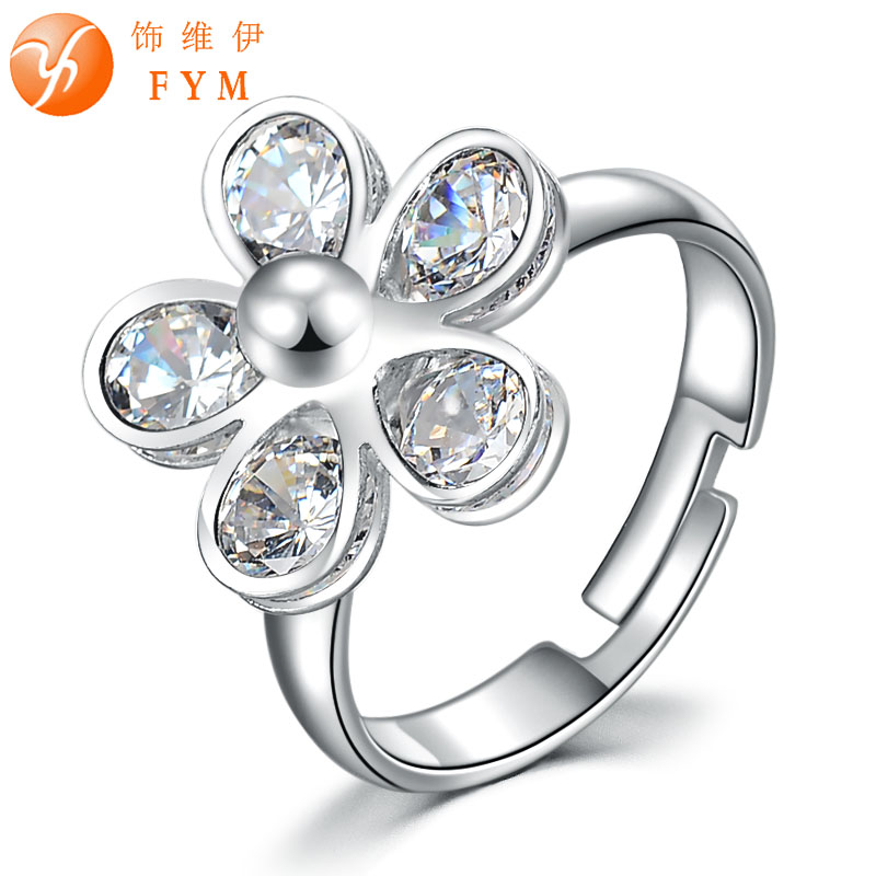 Trendy Adjustable Rings For Women Sliver&18k Gold Plated Flower Ring CZ Diamond for Wedding Jewelry Wholesale RI0087 FYM(China (Mainland))