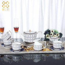 Fashion coffee cups set high-grade bone china tea set luxury coffee cup and saucer teapot  cup and saucer wedding gift