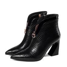 ALLBITEFO dày gót da thật chính hãng Da Đính Đá Họa Tiết Giày Bốt Nữ Thương Hiệu Giày cao gót cổ chân Giày bốt nữ da bò bé gái giày(China)