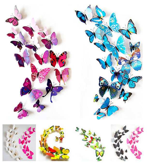 2015 New Gossip Girl Same Style 12pcs 3D Butterfly Wall Stickers Butterflies Decors For Home Fridage Decoration Paper(China (Mainland))