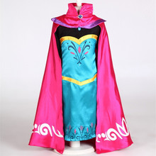 2-15T New Elsa Girl Dress Queen Coronation Dress+ Cape Cartoon Movie Cosplay Costume Kids Princess Dress 2015 Brand Halloween