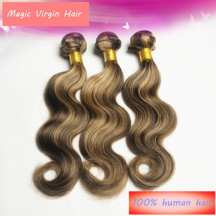 2015 Piano FS  #4/#27 Color Brazilian Virgin Human Hair Weave Body Wave Weaving Extension 1 Bundle(China (Mainland))