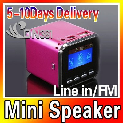 Mini Protalbe Digital LCD MP3 Player Speaker FM Radio USB Disk Micro SD TF Card Rose Red with 5pec/lot