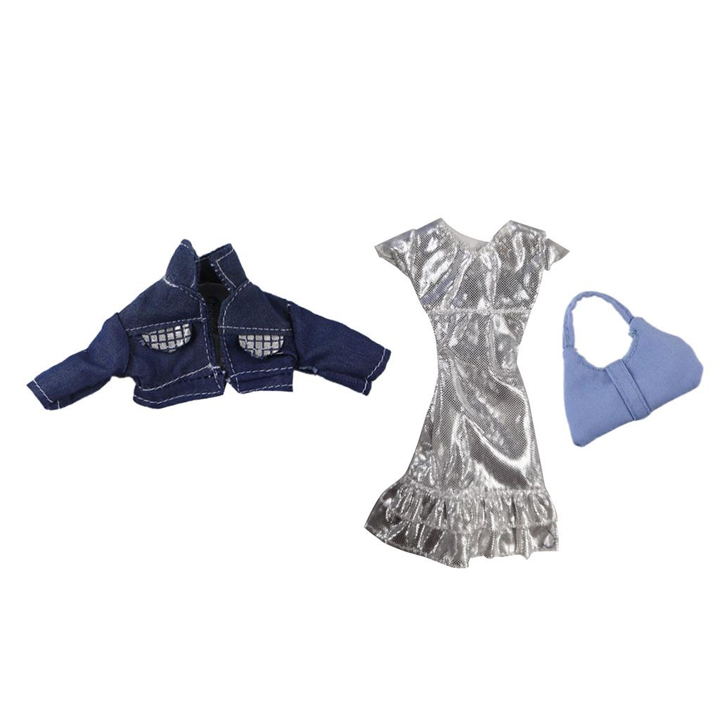 1/6 Scale Girl Dolls Stylish Girl Doll Clothing, Silver Dress & Short Denim Jacket & Handbag, Set Of 3 Pieces