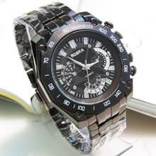 2015 moda negro acero de tungsteno men ' s reloj de alta calidad sección delgada grande del cuarzo del dial hombres reloj del negocio