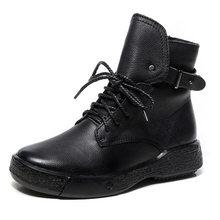 GKTINOO kışlık botlar kadınlar hakiki deri yarım çizmeler içinde peluş el yapımı yumuşak düz ayakkabı Retro kadın ayakkabısı botları(China)