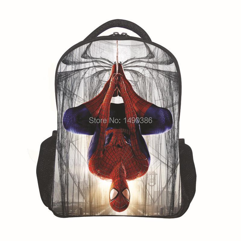 2016 12 мультфильм рюкзак с застежкой-молнией мода стиль мальчик прохладный паук мешок детский школьный для малыша печати рюкзак