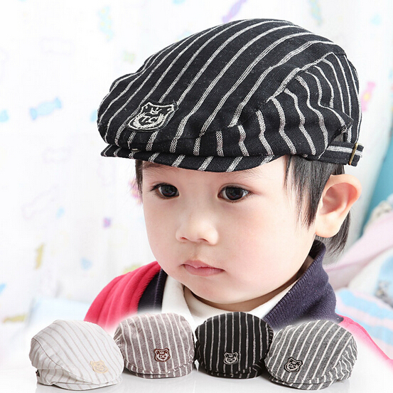 Hot Sale Simple Stripe Design England Style Baby Hat Boy Cap Fashion Child Beret Kid Hat 132KKT(China (Mainland))
